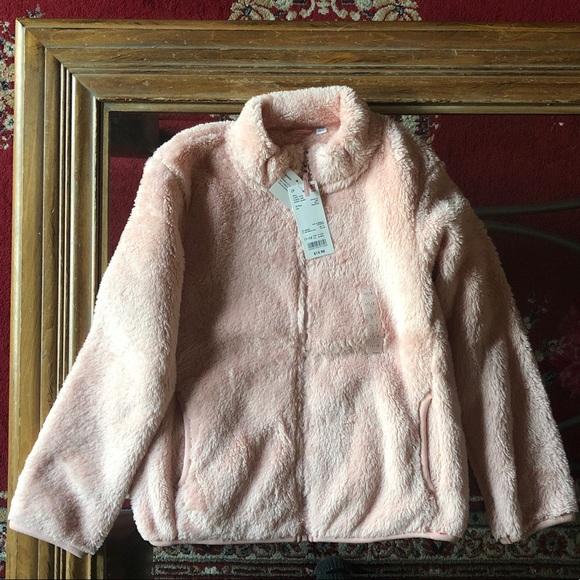 Uniqlo Other - •UNIQLO• Pink Fluffy Yarn Fleece Girl Jacket 11-12